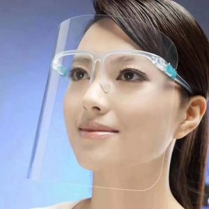 Asian woman wearing a clear face shield