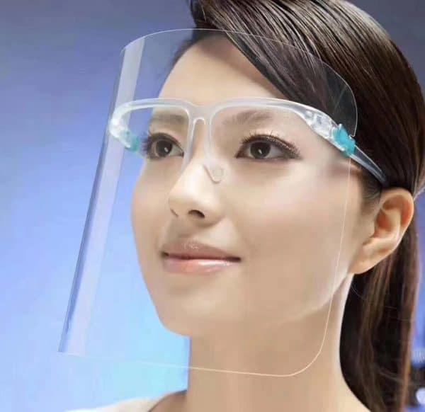 Asian woman wearing a clear face shield