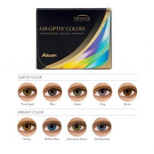 Fresh look colour contact lenses Air optix colours breathable contact lenses, that shows examples of the different coloured lenses