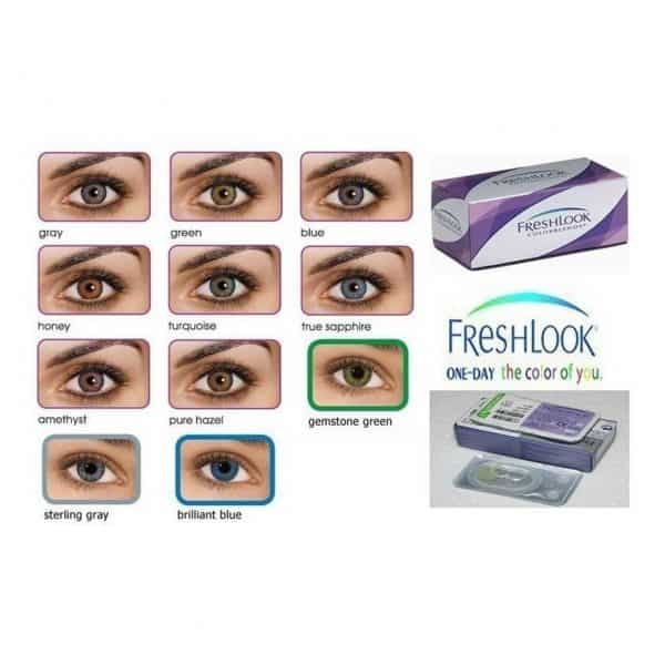Fresh look colour bends packaging, that shows examples of the different coloured lenses